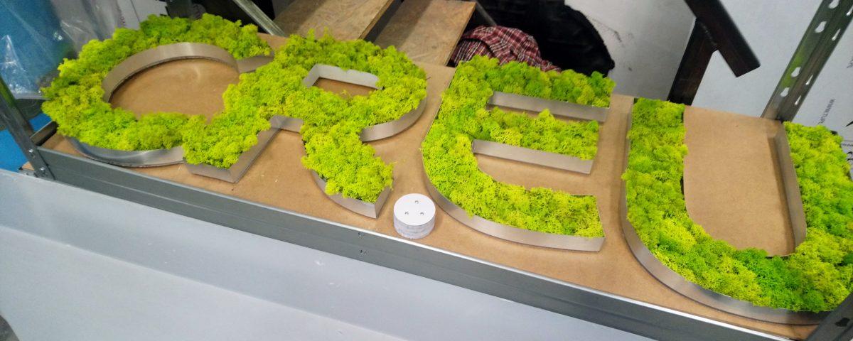 Litery z chrobotkiem barwionym na zielono