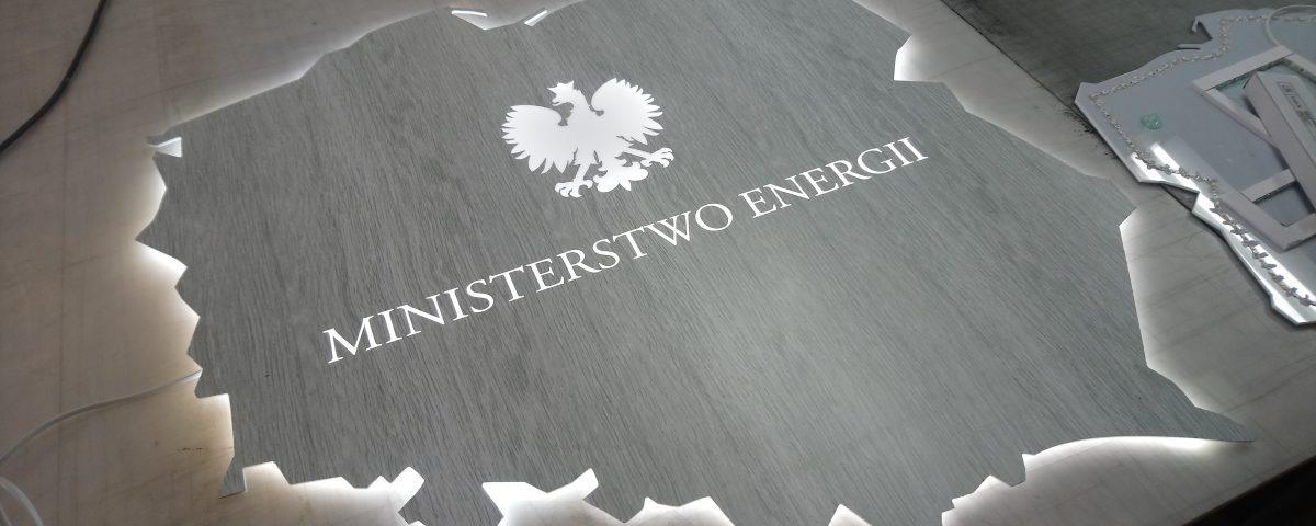 Logo Ministerstwa Energi z efektem halo